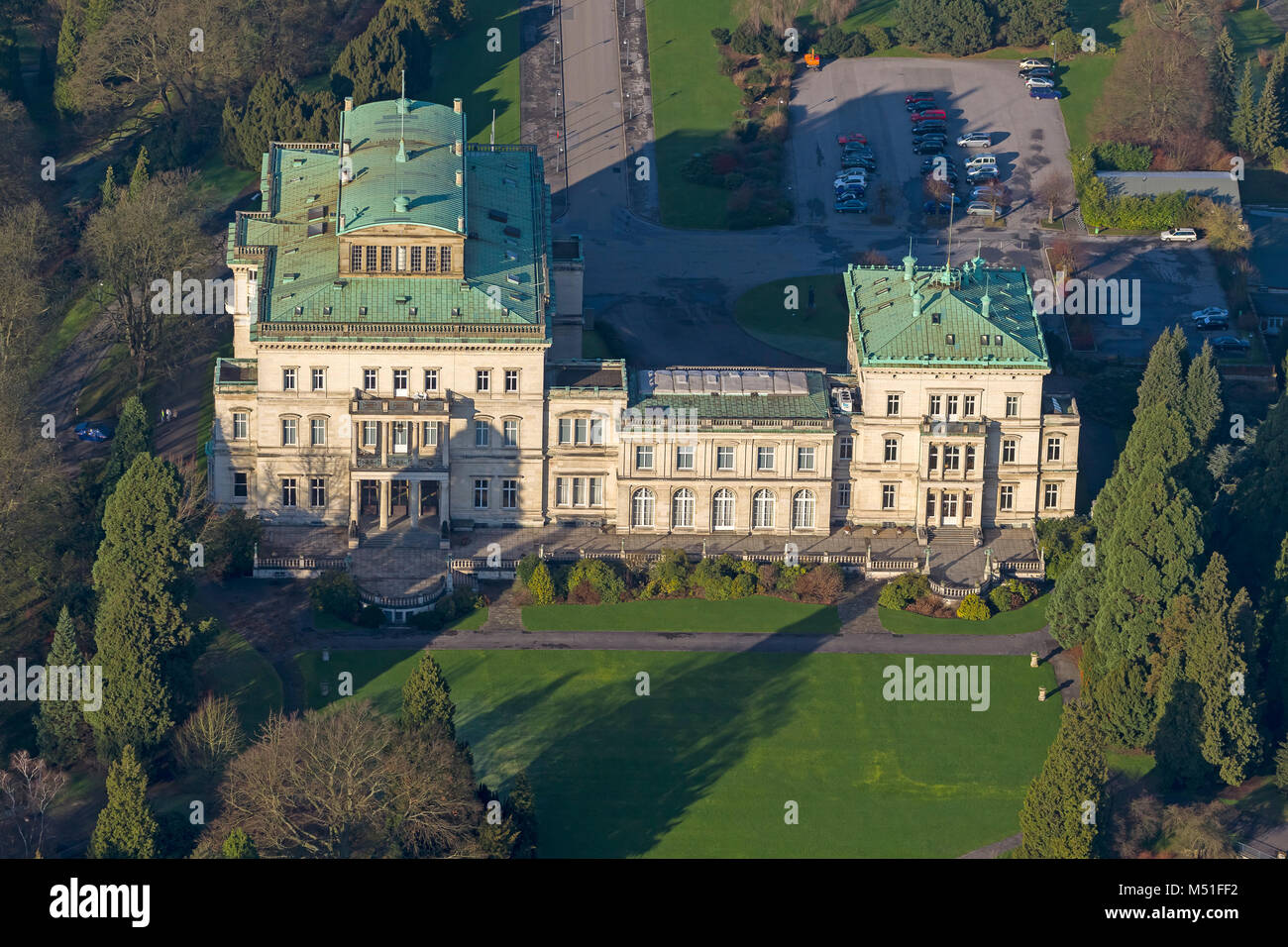 aerial view villa h gel former family home of the krupp family stock photo 175211094 alamy. Black Bedroom Furniture Sets. Home Design Ideas