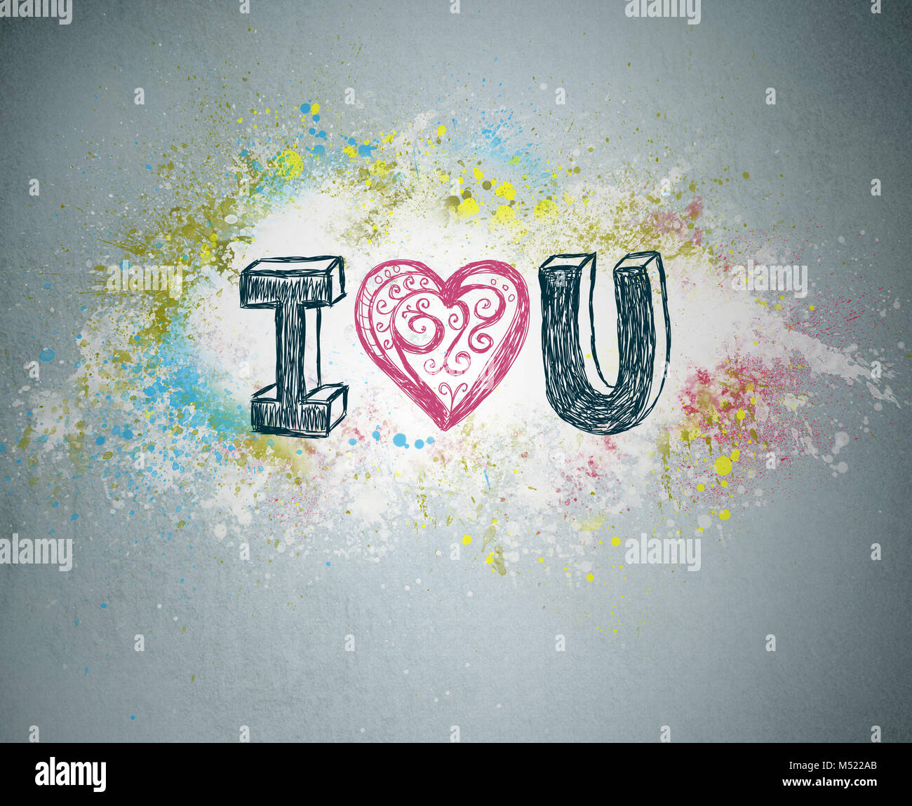 I love you handwritten message on a concrete wall with an stock handwritten message on a concrete wall with an illustrated heart used as a symbol of love in this valentines message graffiti bright spla biocorpaavc