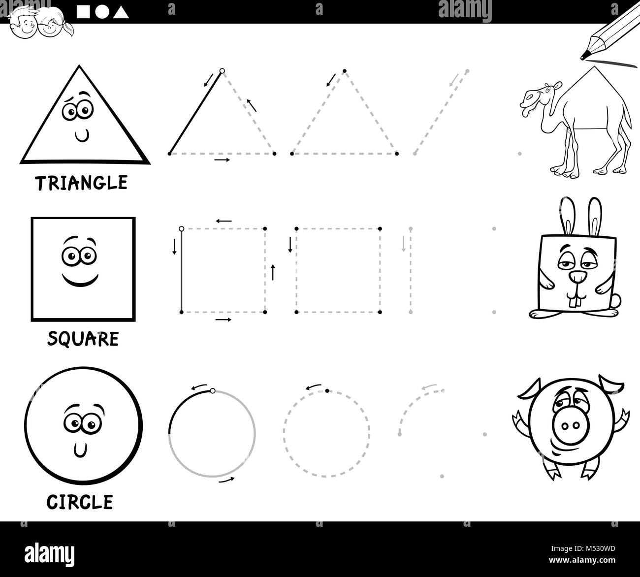 draw basic geometric shapes coloring page Stock Photo: 175243529 - Alamy
