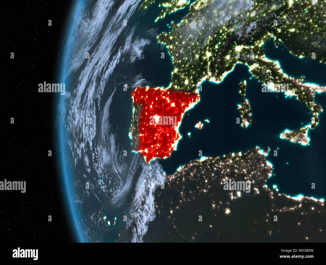 Night map of spain as seen from space on planet earth 3d stock night map of spain as seen from space on planet earth 3d illustration elements of this image furnished by nasa gumiabroncs Image collections