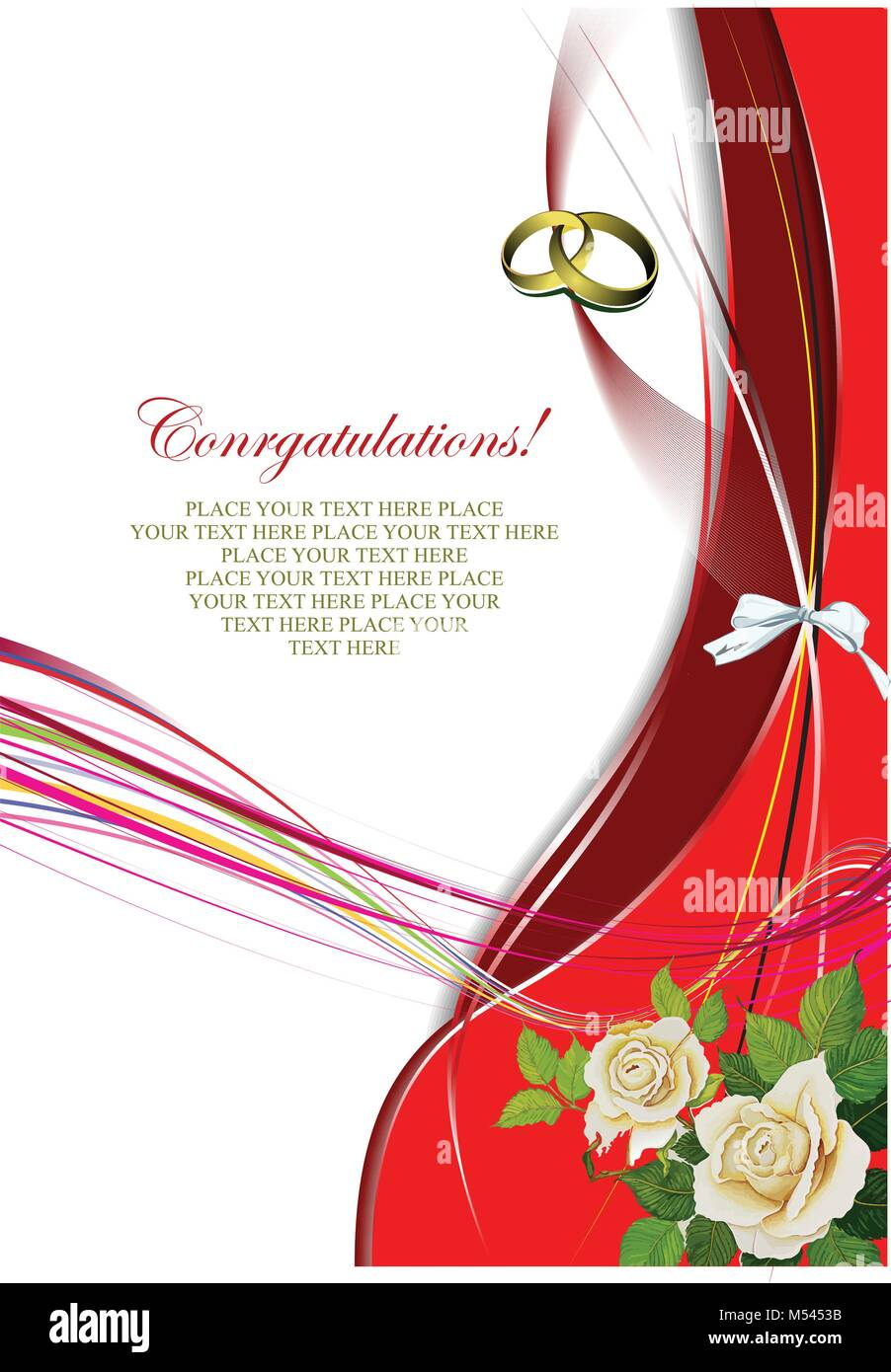 Greeting Wedding Card With Roses Bunch Vector Illustration Stock