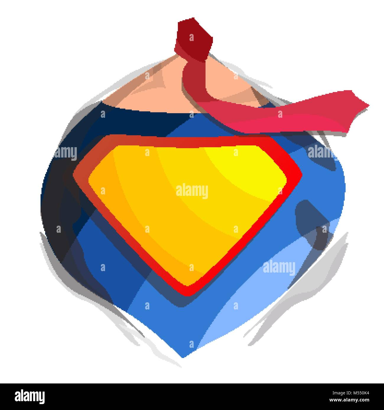 Superhero Logo Vector Yellow Red Shield Emblem Template Flat