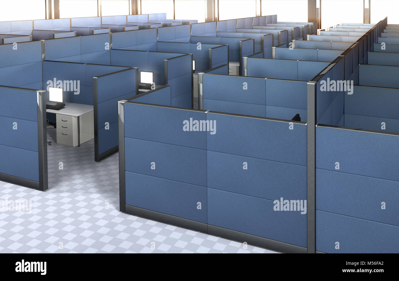 office with cubicles. 3D Rendering Of The Interior An Empty Office With Cubicles. Cubicles