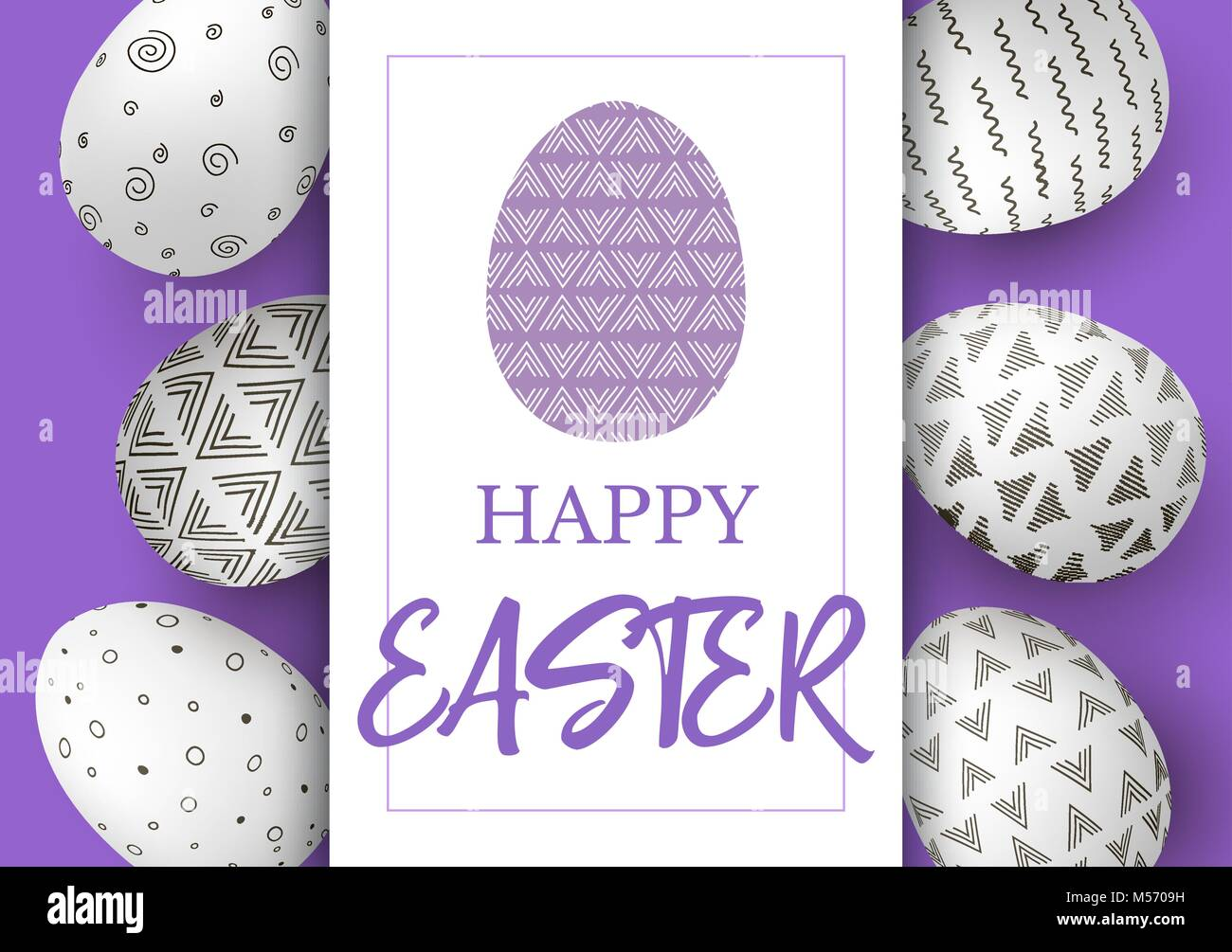 easter eggs in vertical line with elegant ornaments on purple stock