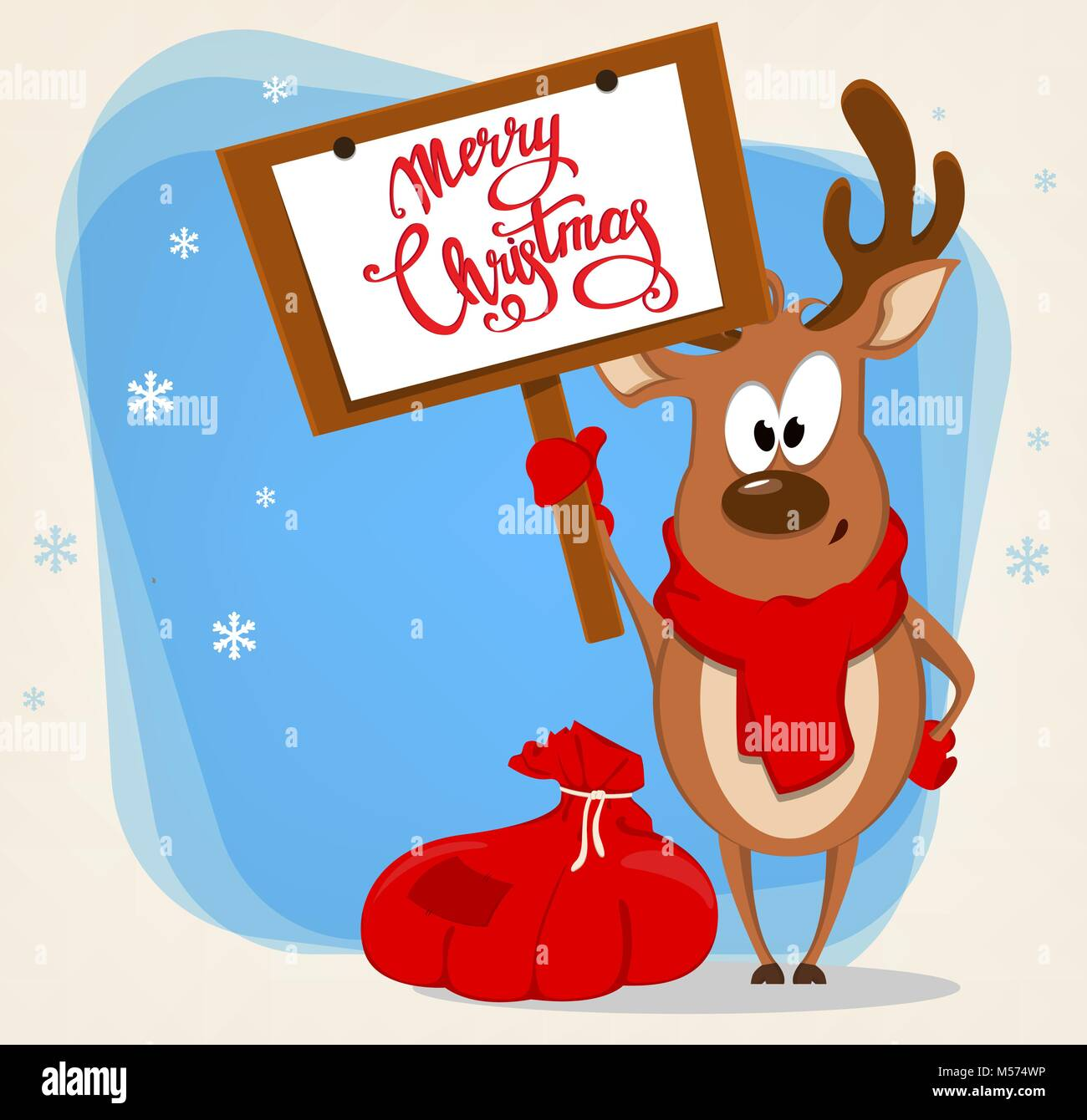 merry christmas greeting card with funny reindeer standing near bag with presents and holding placard with greetings vector illustration on blue back - Funny Merry Christmas Greetings