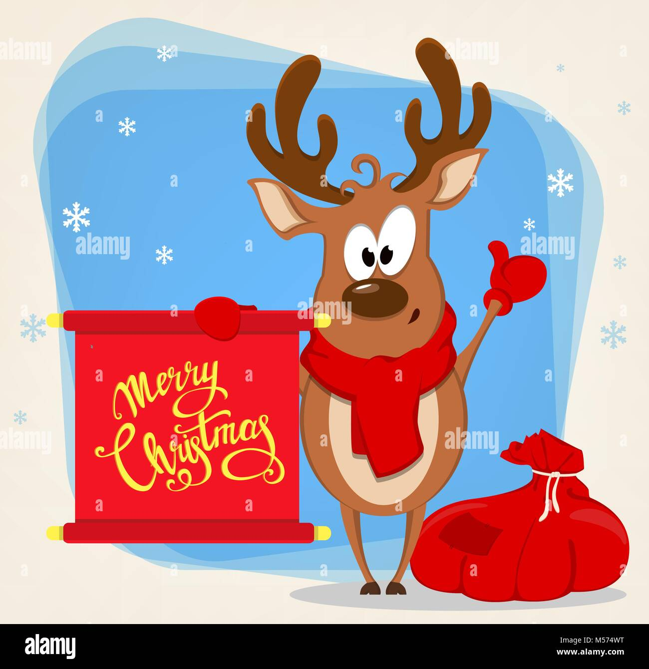 merry christmas greeting card with funny reindeer standing near bag with presents and holding scroll with greetings vector illustration on blue backg - Funny Merry Christmas Greetings
