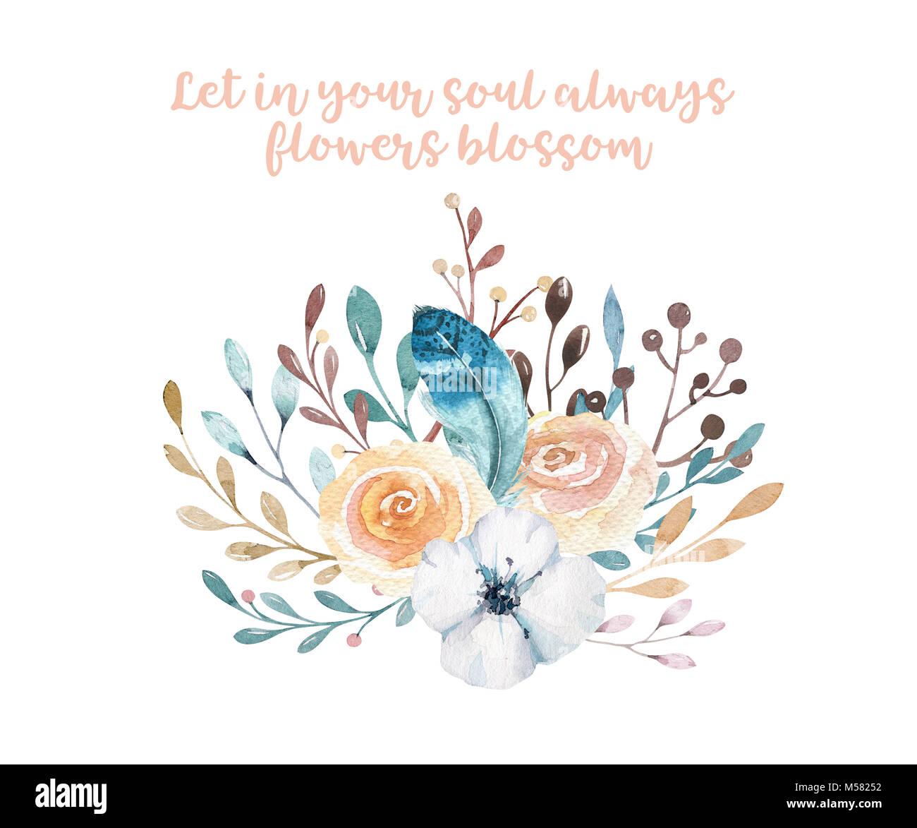 Watercolor boho floral illustration. Bohemian flower bouquets Stock ...