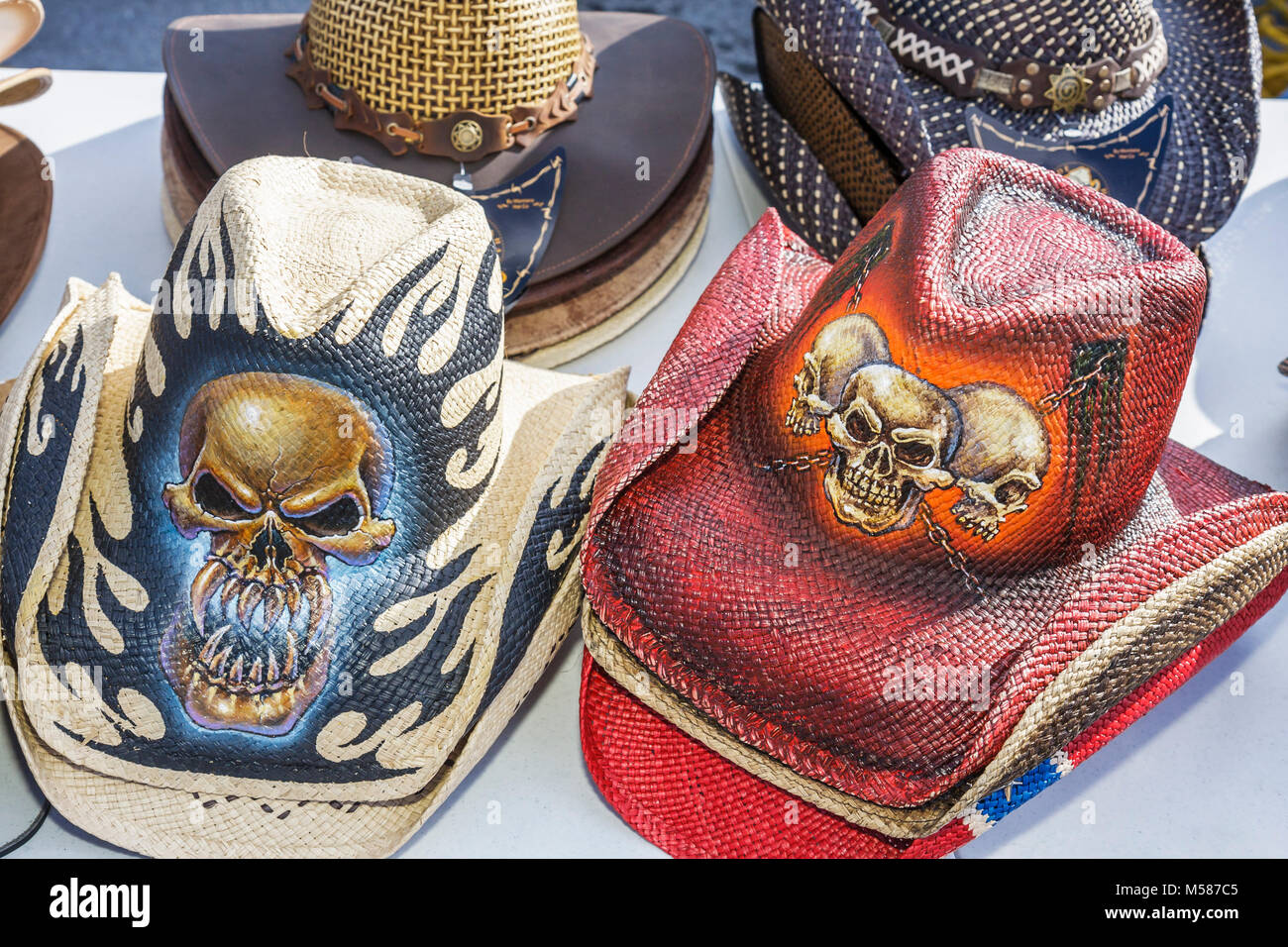 Homestead Route 1 One Farmers Market Western hats painted straw skulls  fashion b79363e010a