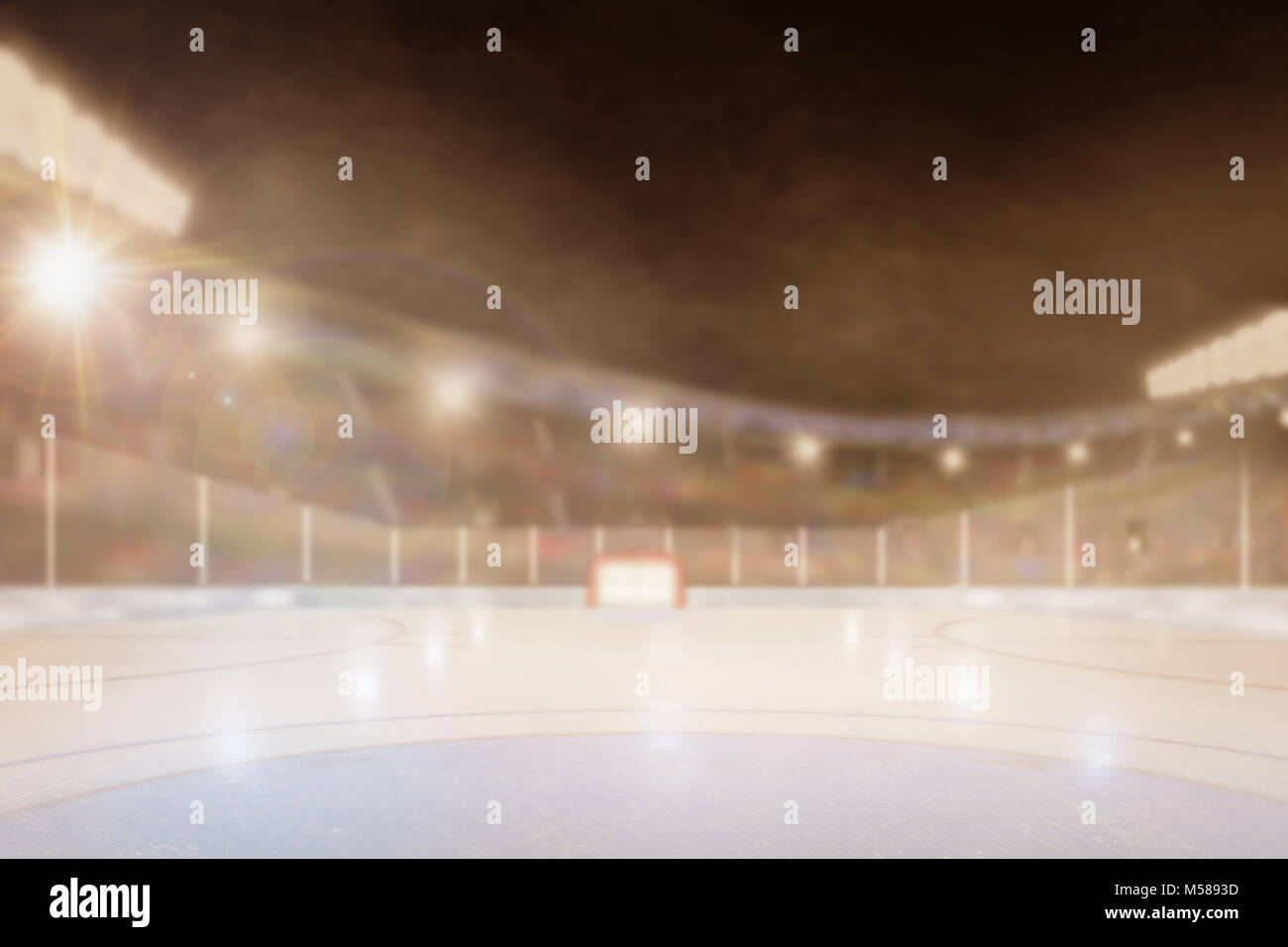 Brightly Lit Outdoor Ice Hockey Rink Arena With Focus On Foreground And  Shallow Depth Of Field