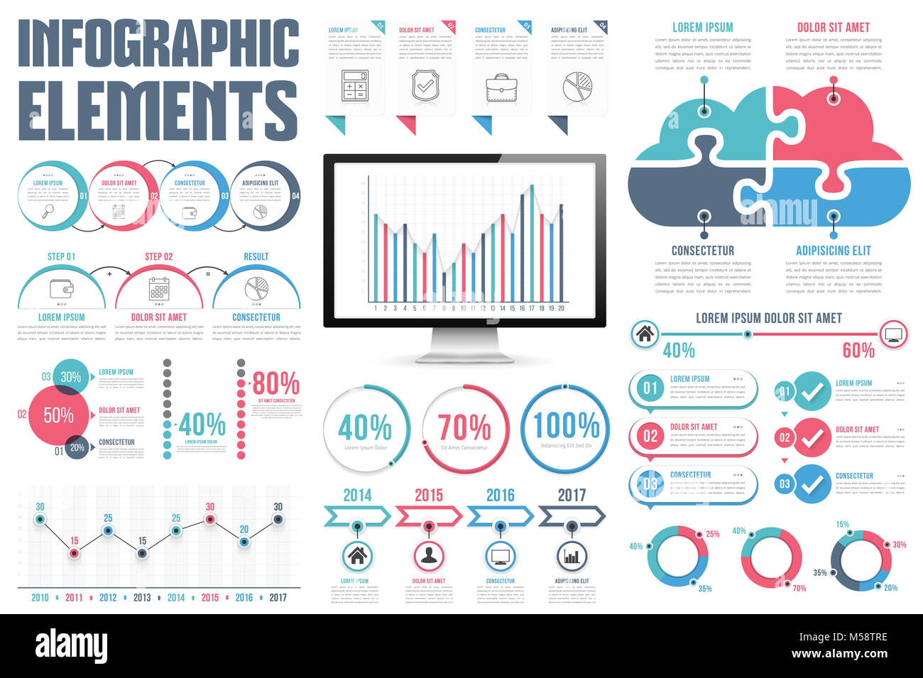 Infographic elements process infographics percents bar chart infographic elements process infographics percents bar chart and line chart steps options timeline infographics pie chart puzzle cloud vecto nvjuhfo Gallery
