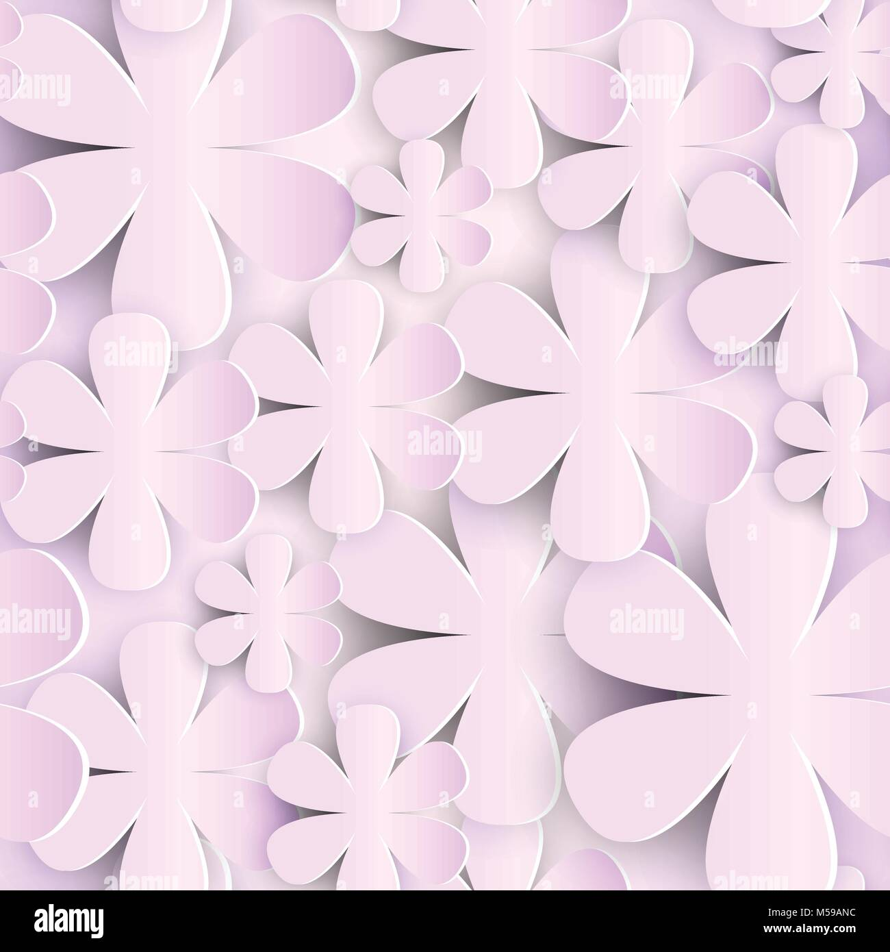 Seamless Pattern With 3d Paper Flowers Pink Background Cute Romantic
