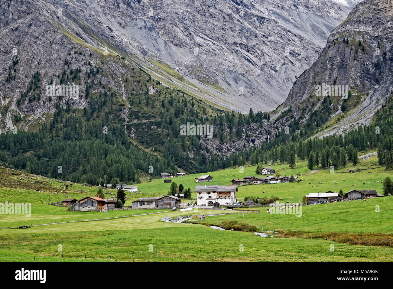 Remote Alpine Community Sited On Meadowland Below A Glacial Hanging Valley