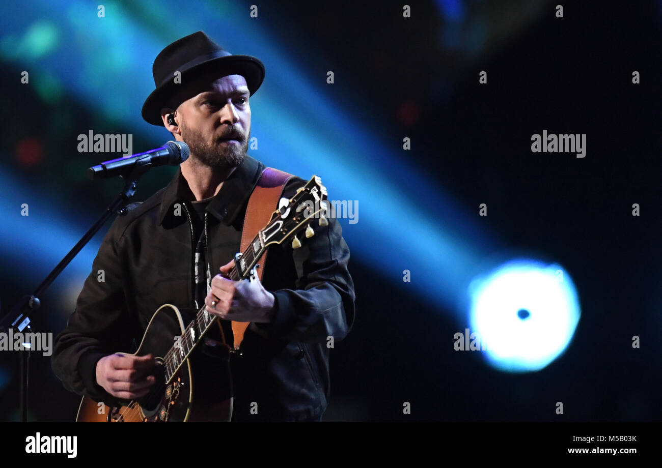 ea75a3375165 Chris Stapleton and Justin Timberlake performs on stage during the 2018 BRIT  Awards show