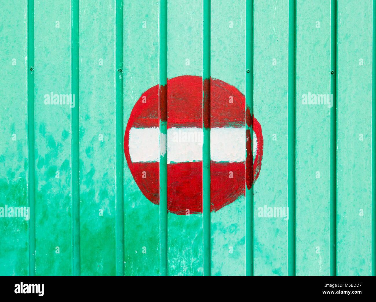Green garage door stock photos green garage door stock images noe entry sign painted on garage door stock image rubansaba
