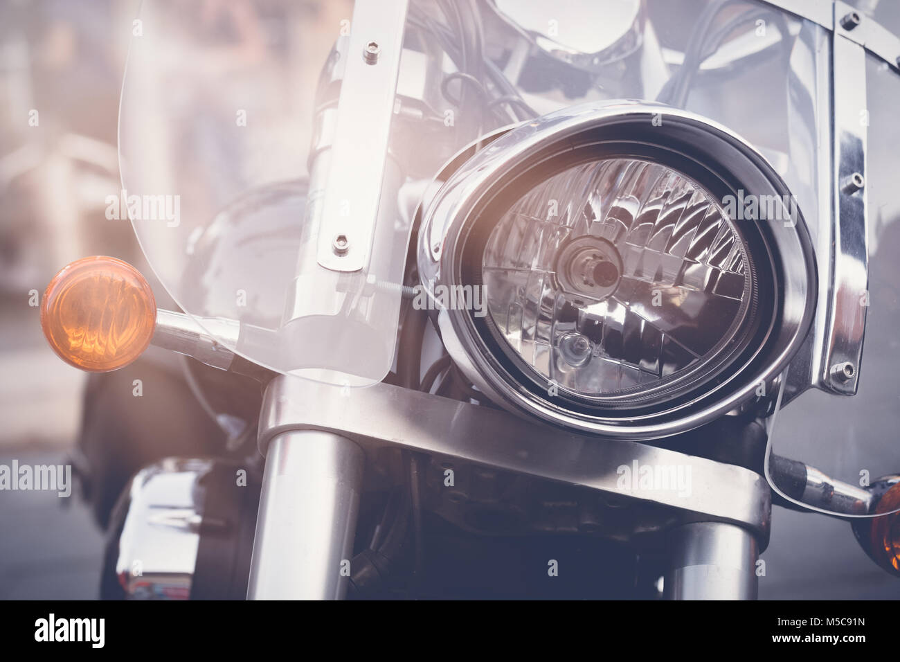 Vintage Motorbike Focus On A Headlamp Retro Motorcycle With Stock