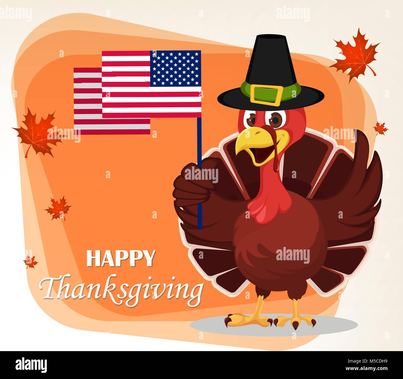 Thanksgiving greeting card with a turkey bird wearing a pilgrim hat thanksgiving greeting card with a turkey bird wearing a pilgrim hat and holding usa flag funny cartoon character for holiday vector illustration wit m4hsunfo