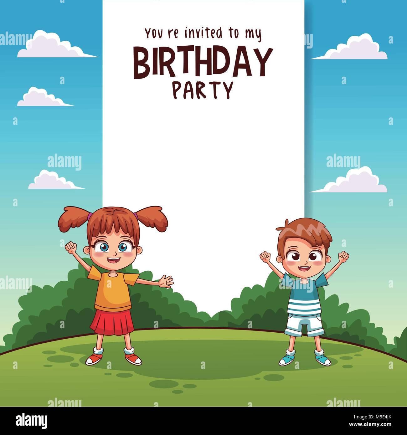 Kids Birthday Party Card Invitation