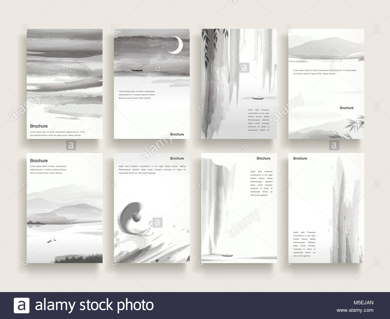 Elegant Brochure Template Design With Ink Brush Elements Stock Photo