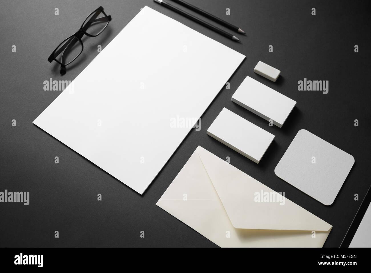 Blank branding stationery mockup on black paper background. Template ...