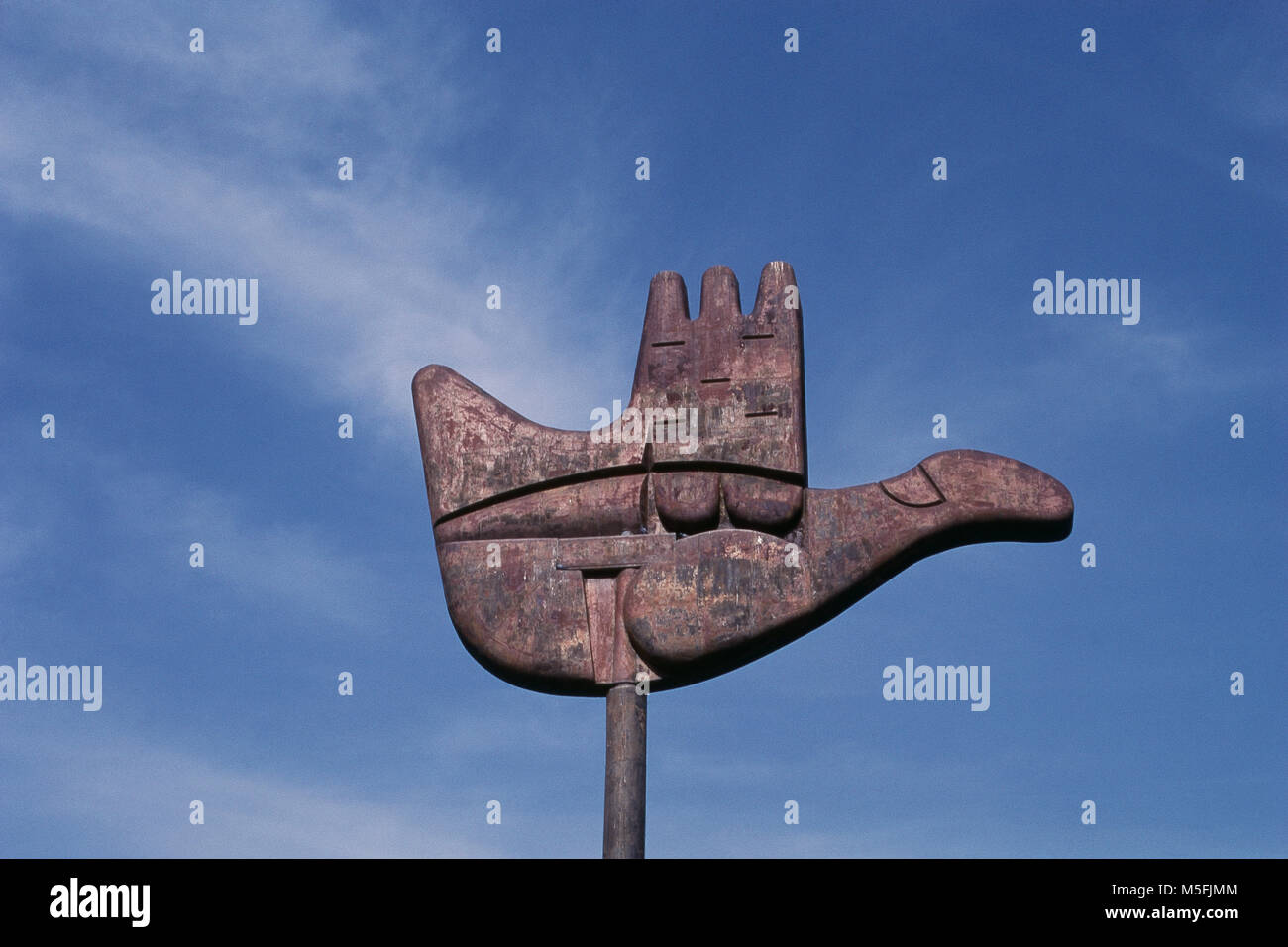 An Open Hand Symbol At Capitol Complex In Chandigarh India Stock