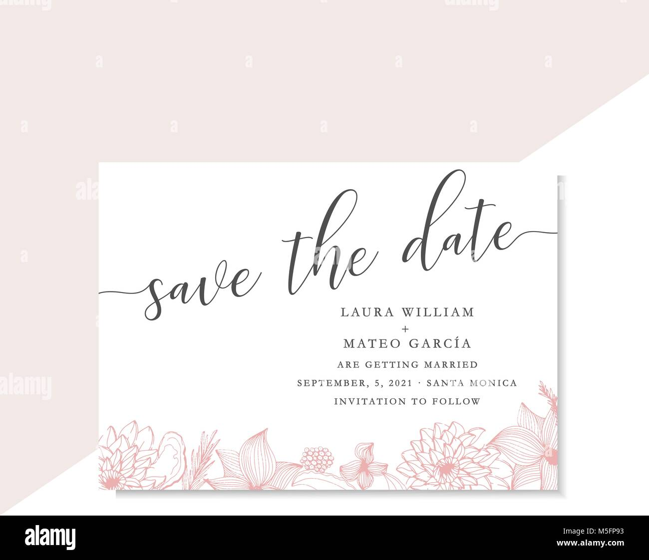 Save the date template with pink line art flowers and leaves, card ...