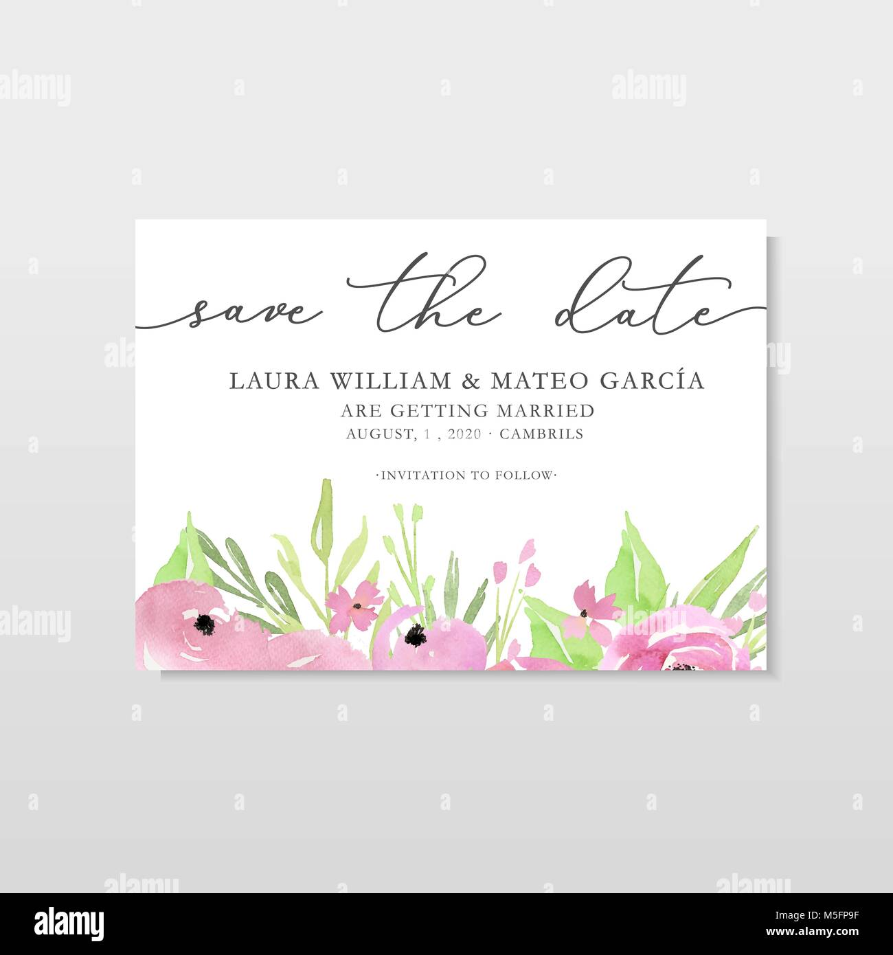 Save the date template with watercolor pink flowers and leaves, card ...