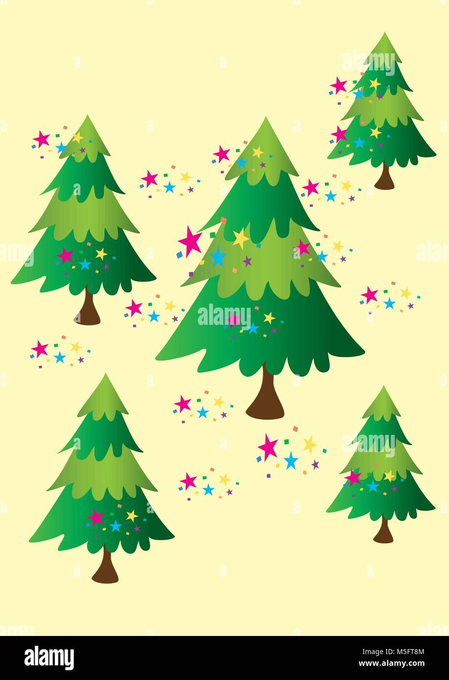 Five stylized Christmas fir trees with multicolored stars Stock ...