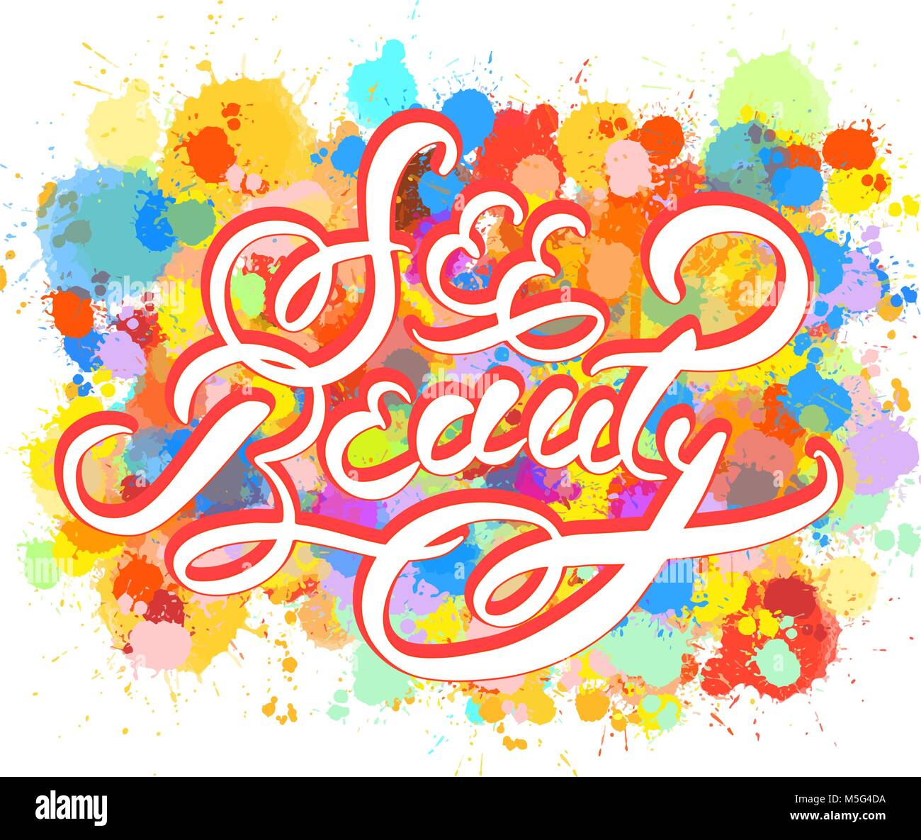 See Beauty Word Hand Lettering Vector Artwork Concept Ready For