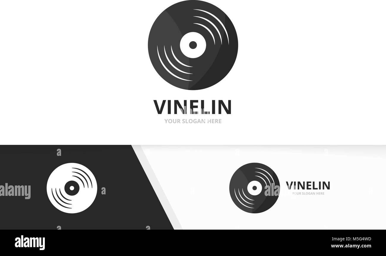 Vector vinyl logo combination. Record symbol or icon. Unique music ...