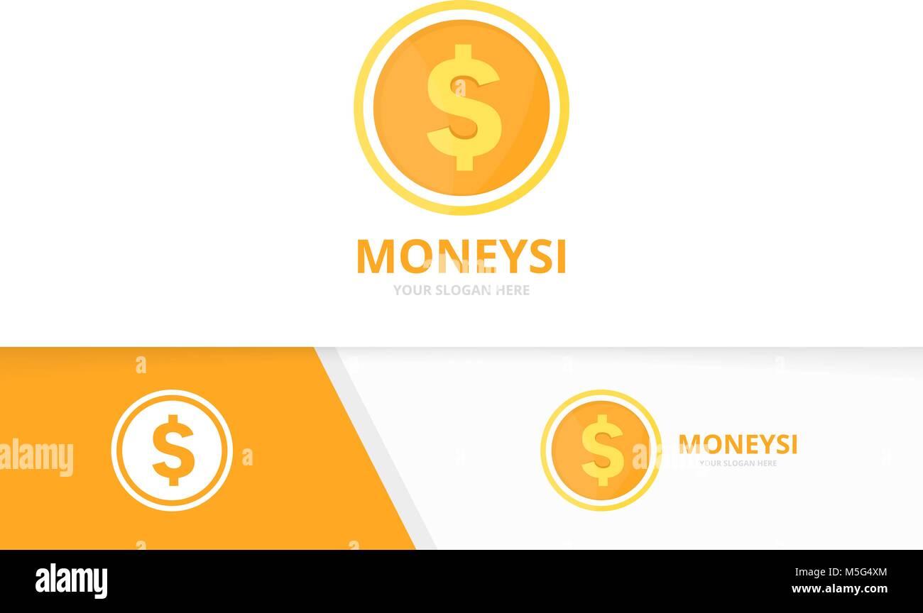 vector coin logo combination money and treasure symbol or icon