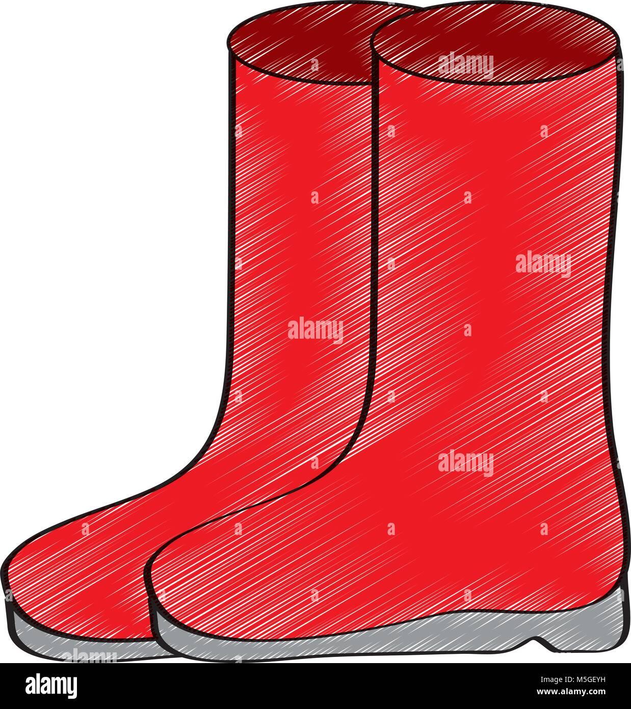 Pair Rubber Boots Clothes Winter Season Fashion Stock Vector