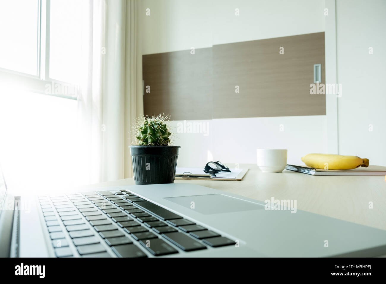 Closeup Notebook Flat Lay Home Office Workspace Top View