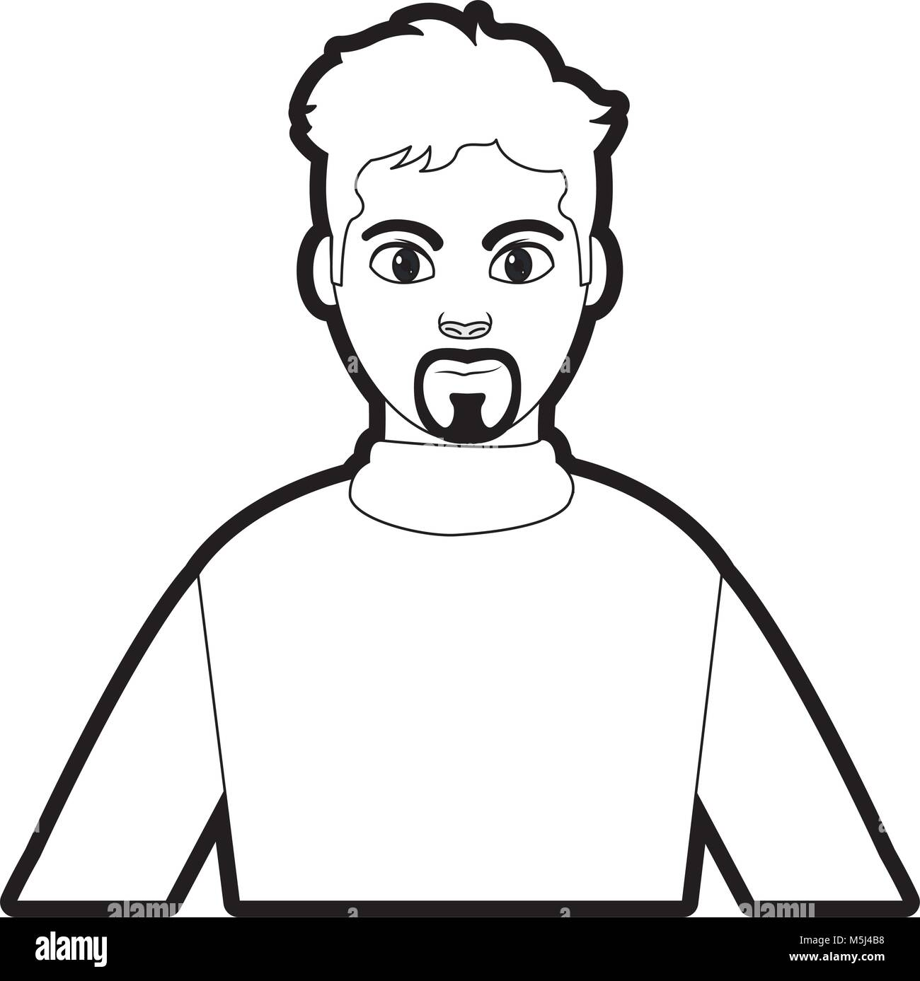 Shirt Design Outline | Outline Avatar Man With Shirt Design And Hairstyle Vector Stock