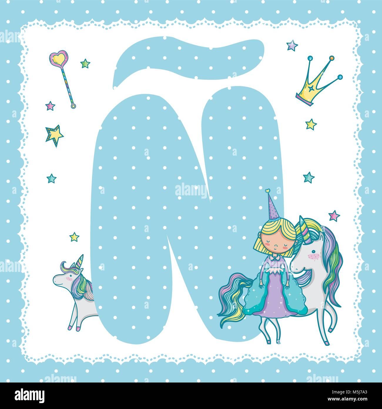 N alphabet letter for kids Stock Vector Art & Illustration, Vector ...