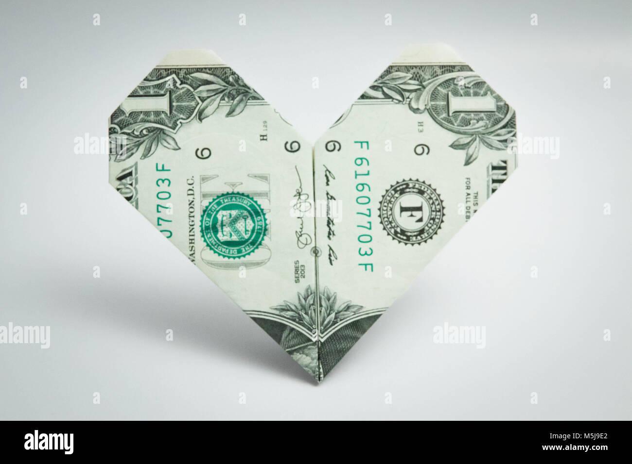 Dollar heart stock photos dollar heart stock images alamy origami heart dollar bill one dollar usa stock image jeuxipadfo Images
