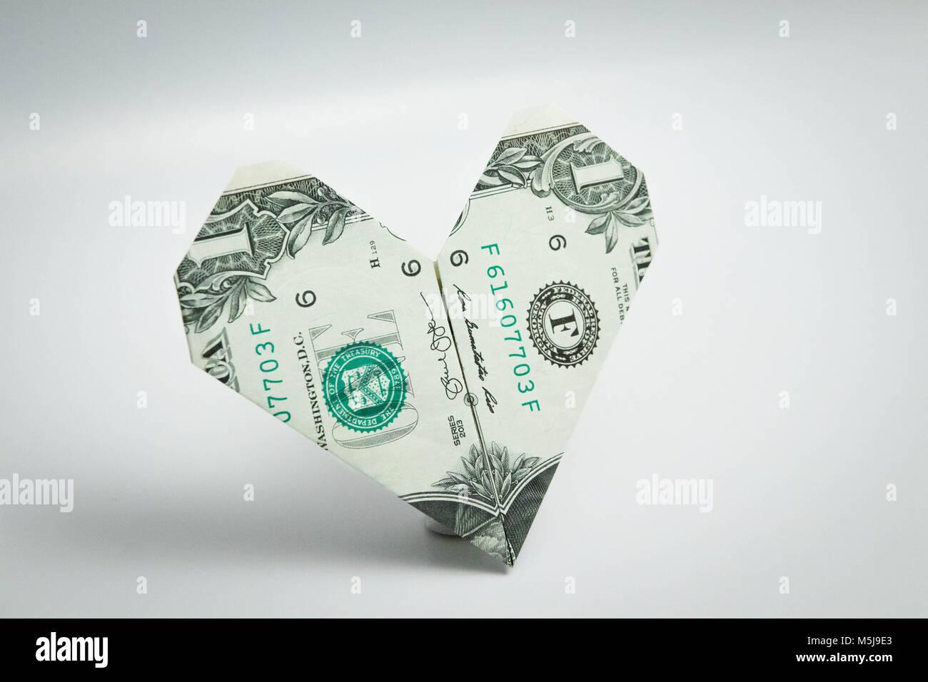 Origami heart dollar bill one dollar usa stock photo 175579547 origami heart dollar bill one dollar usa jeuxipadfo Images