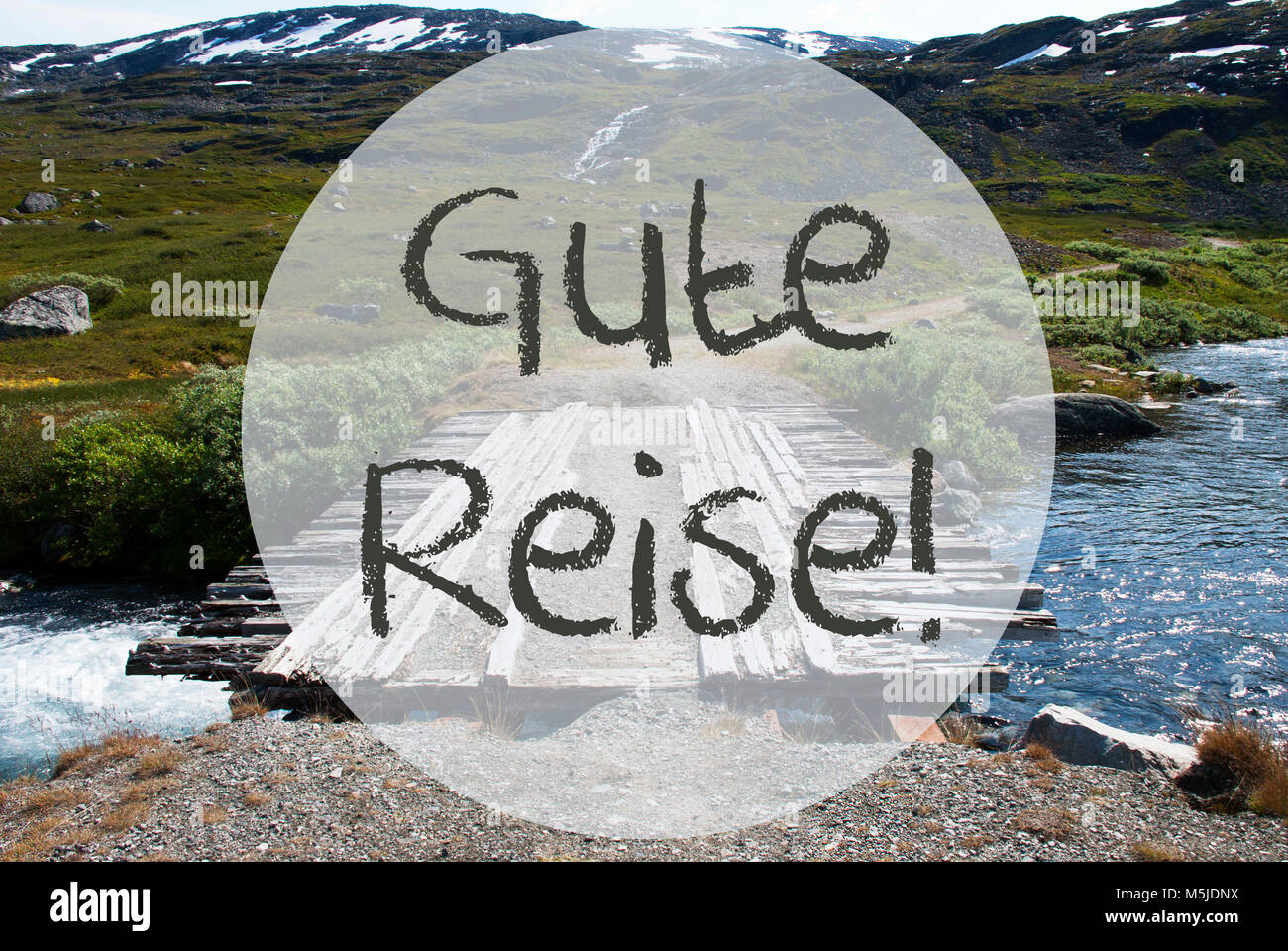 German text gute reise means good trip wooden foot bridge in german text gute reise means good trip wooden foot bridge in norway mountains and river for beautiful landscape scenery kristyandbryce Gallery