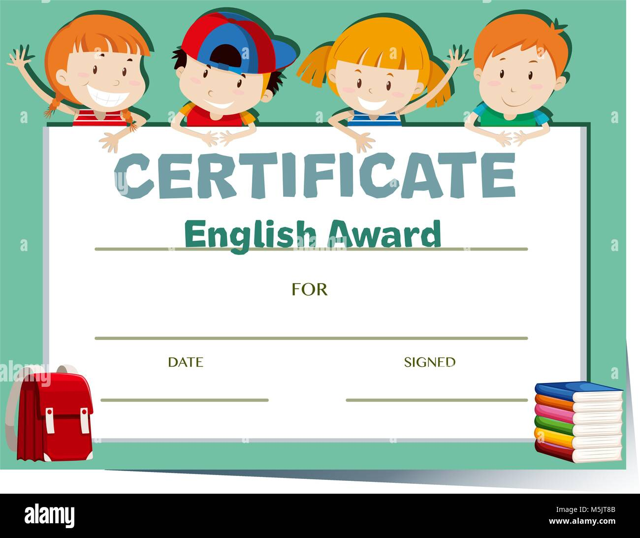 Certificate Template With Happy Kids Illustration Stock Vector Art