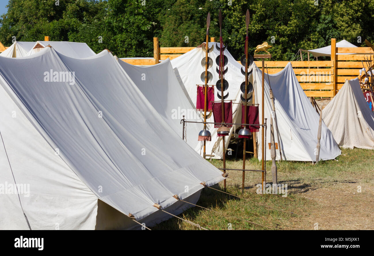 Tents in an ancient Roman miliary enc&ment a a historical reenactment & Tents in an ancient Roman miliary encampment a a historical Stock ...