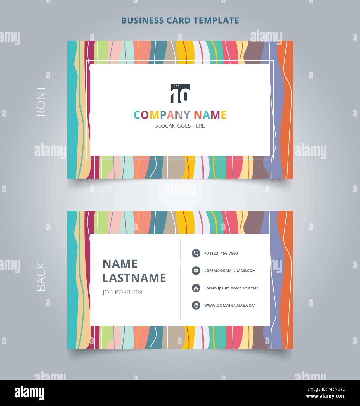 Creative Business Card And Name Card Template Colorful Pastels Stock
