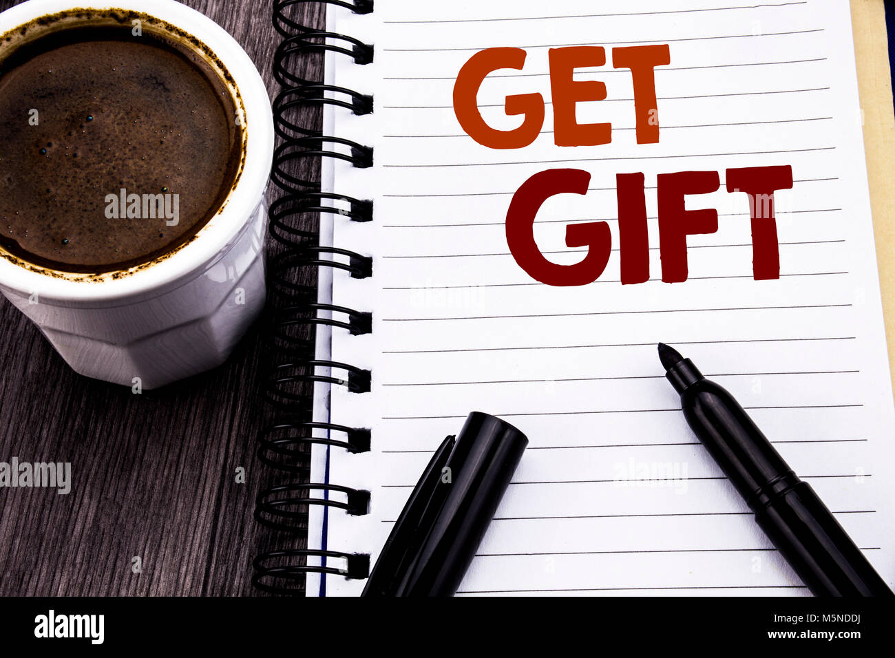 Writing text showing Get Gift  Business concept for Free Shoping