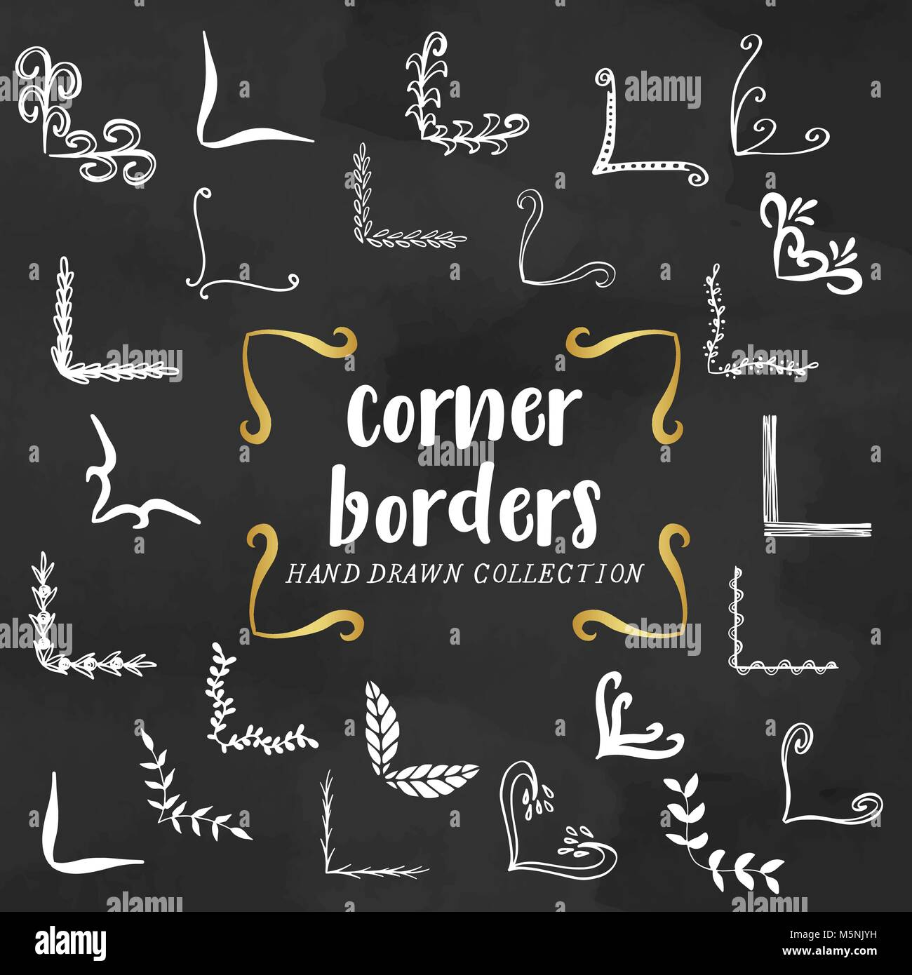 hand drawn corners decoration doodles ornaments corners stock