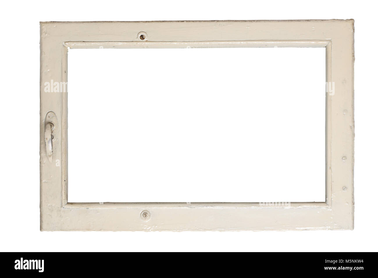 Very old window frame isolated on white background with clipping ...