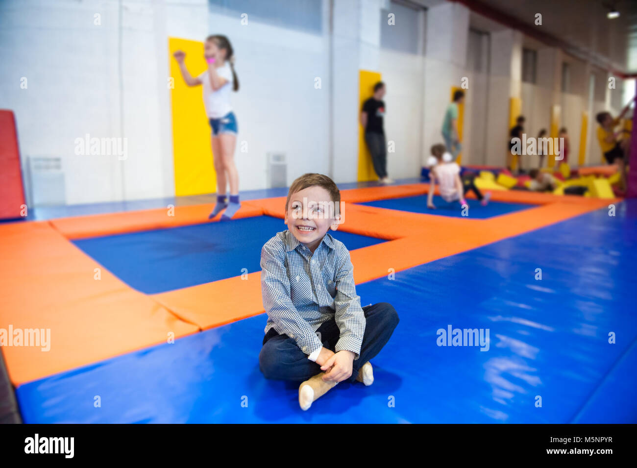 trampoline indoors stock photos trampoline indoors stock images alamy. Black Bedroom Furniture Sets. Home Design Ideas