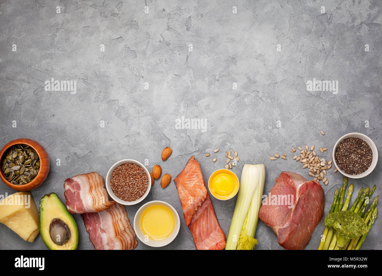 Ingredients For Ketogenic Diet Meat Bacon Fish Broccoli Stock
