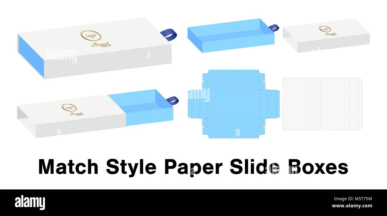 slide box die cut mock up template vector stock vector art
