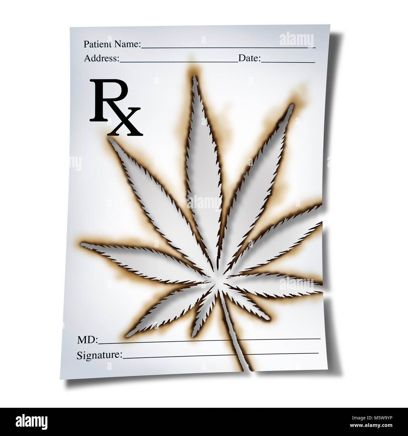 Marijuana medical prescription as cannabis prescribed by a doctor as marijuana medical prescription as cannabis prescribed by a doctor as an rx note with a leaf burnt into the paper as a medicine symbol for legalized biocorpaavc Images