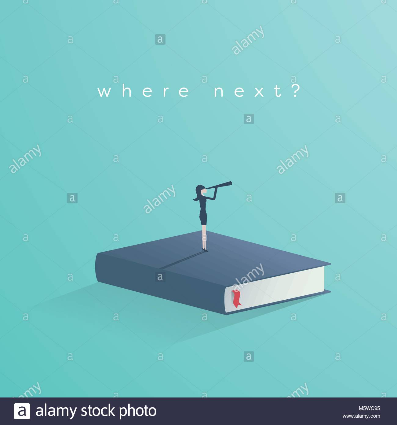 Education vector concept businesswoman or student standing on businesswoman or student standing on book looking at future symbol of career job graduate achievement wisdom eps10 vec biocorpaavc Choice Image