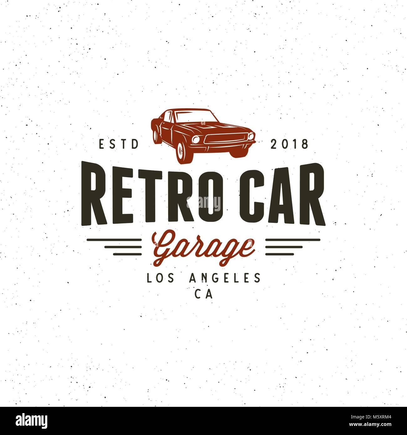 Vintage Muscle Car Garage Logo Vector Illustration Stock Vector Art