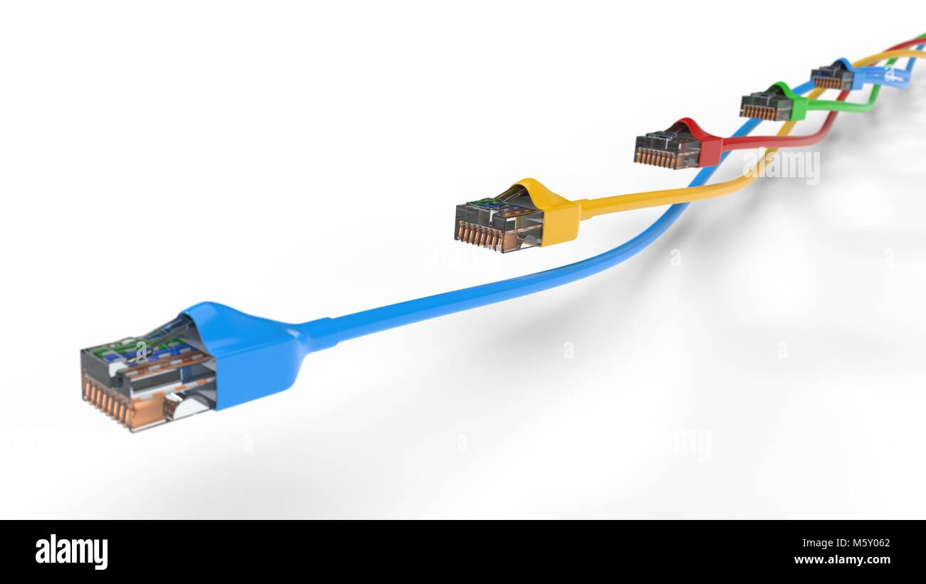 twisting internet cables. conceptual 3d illustration of ethernet ...